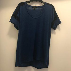 J.Crew Dark Teal T-Shirt with Black Lace on Sleeve